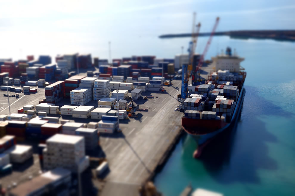 Tilt shift of shipyard at Hawke's Bay