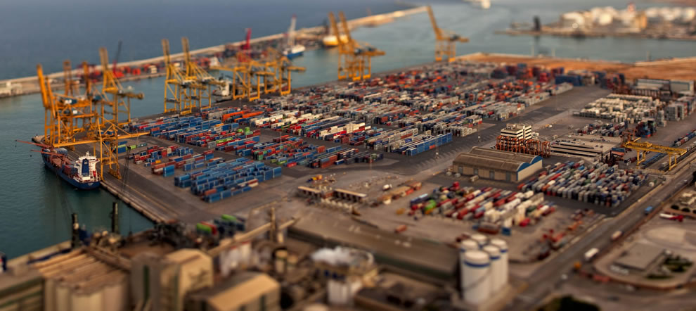 Tilt-shift panorama of Barcelona port