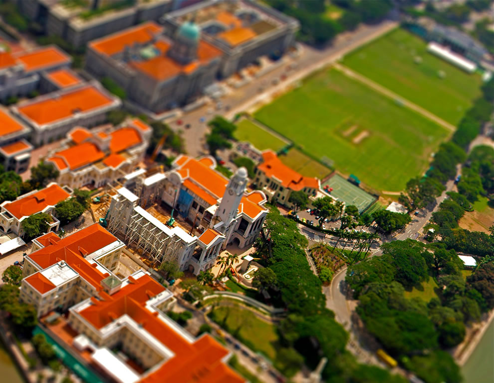 Tilt shift point of view miniaturizes town