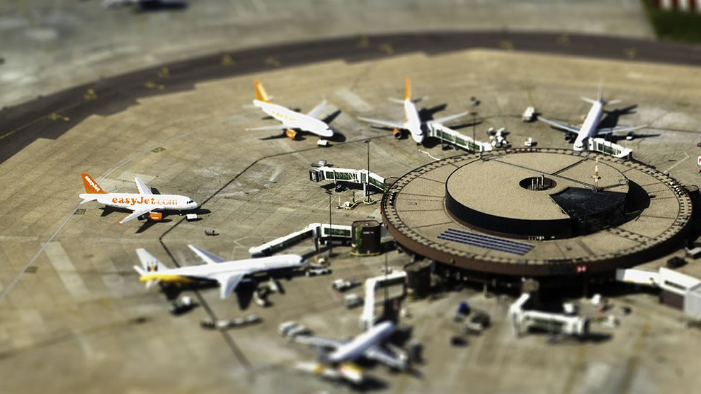 Tilt shift to make miniature Gatwick Airport in London, UK