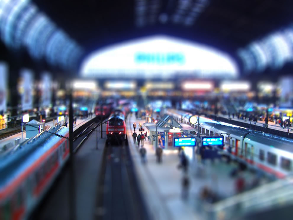 Tilt-shift train in Hamburg Germany