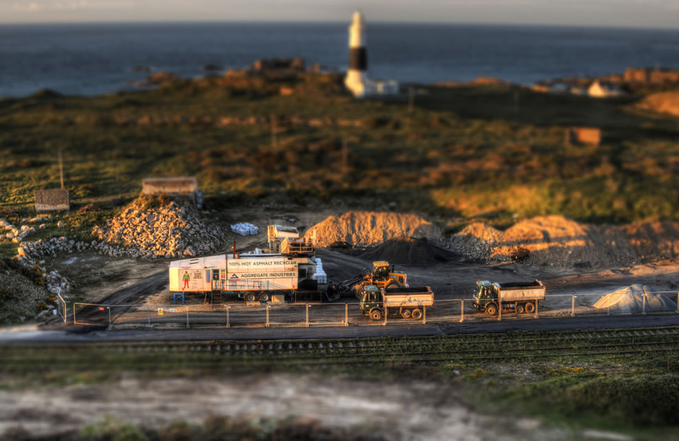 Toy Trucks in Mannez Quarry, tilt shift
