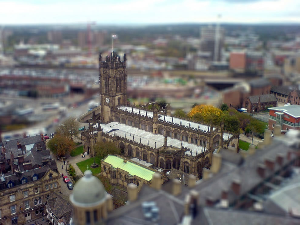 Toytown Manchester, miniature model effect, tilt shift
