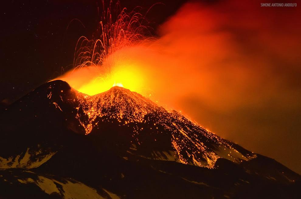 Volcano erupting, Etna in Sicily Dec 29 2013