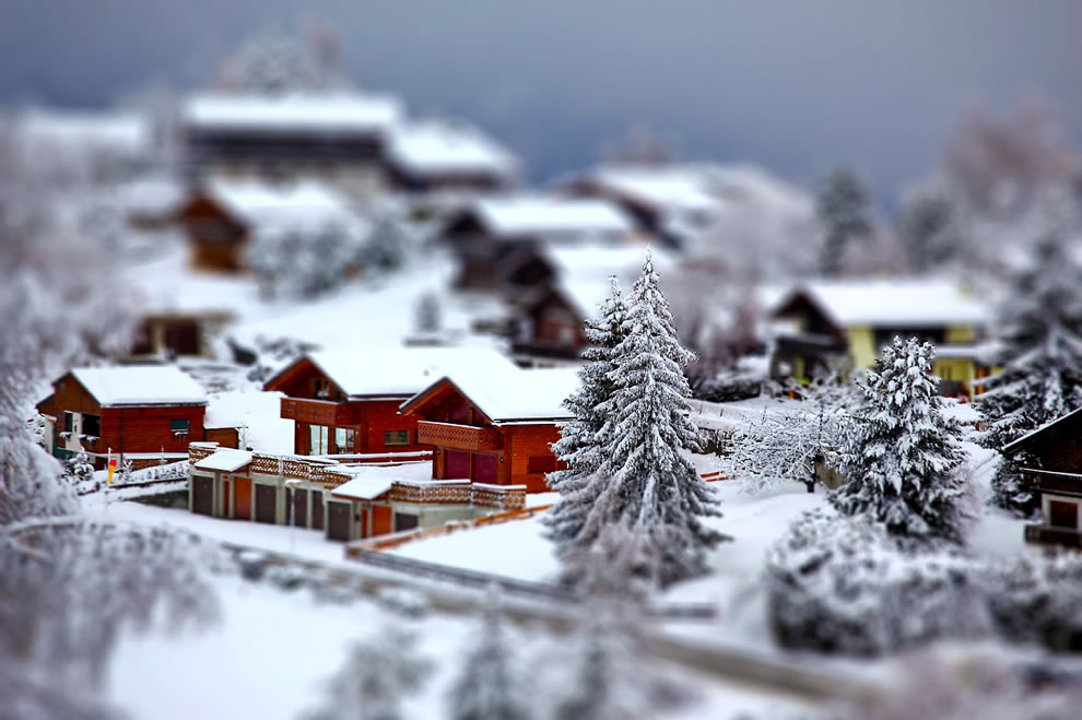 Winter tilt shift scene of  Haute-Nendaz, Canton of Valais, Switzerland