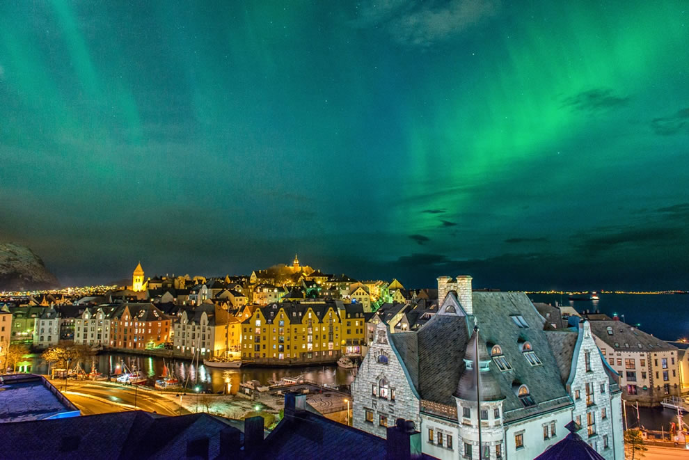 Aurora over Alesund, Norway