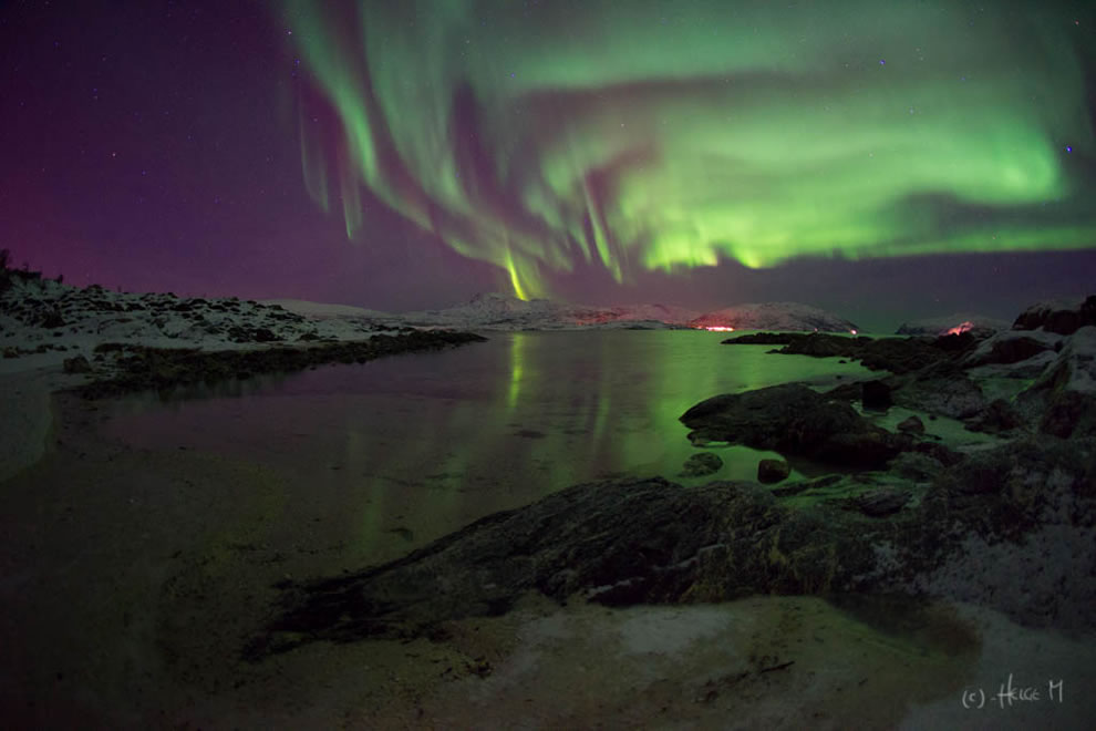 Aurora reflections over Norway