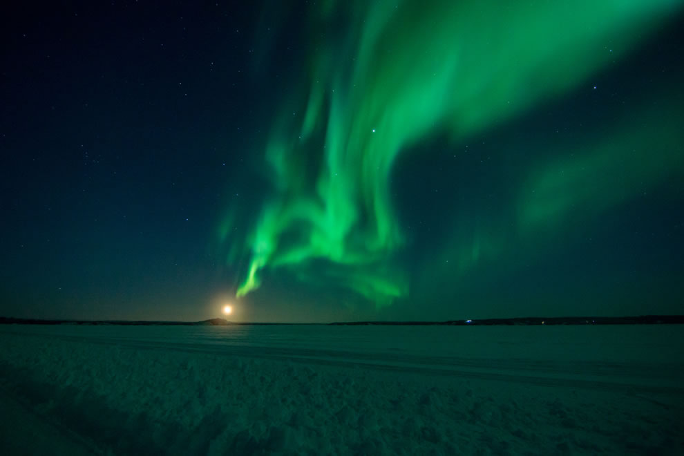 Aurora smoking from moon