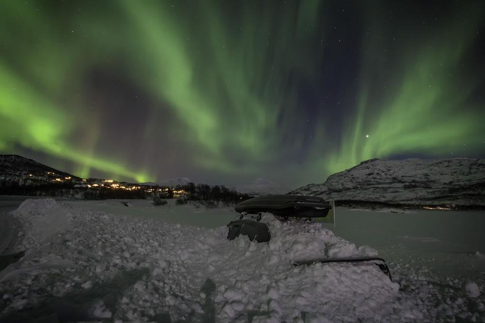 Frozen car and aurora
