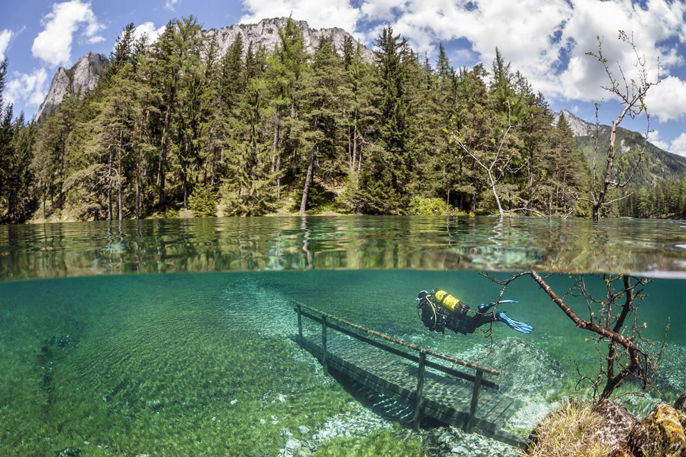 Diving in amazing Green Lake