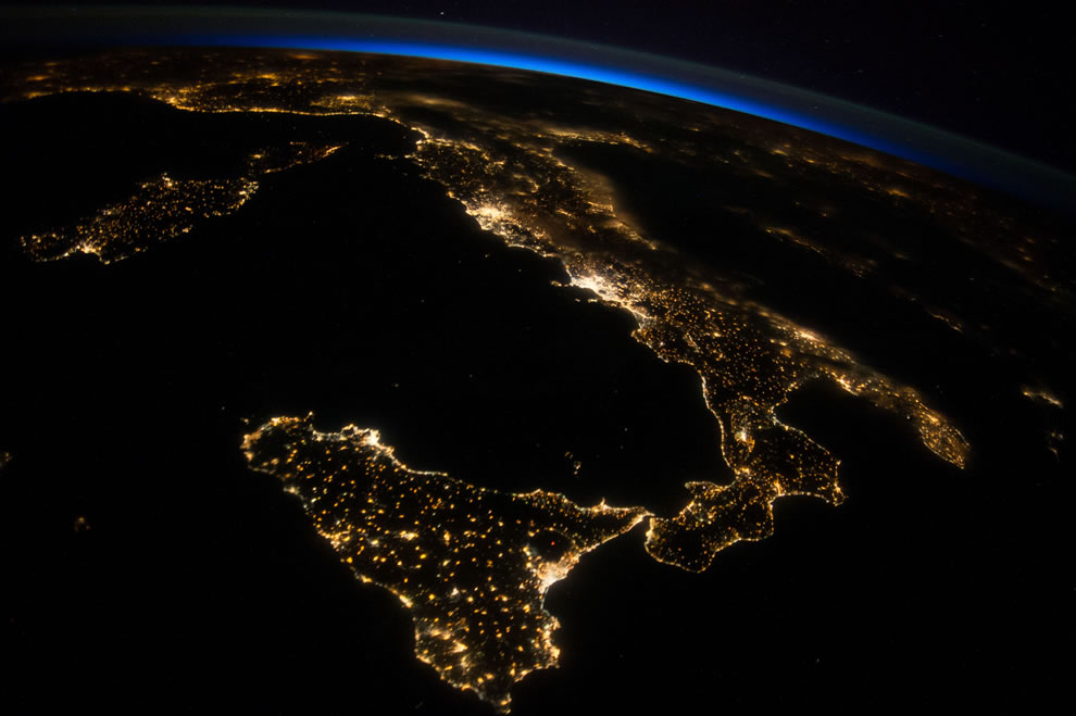 Italy at night from ISS