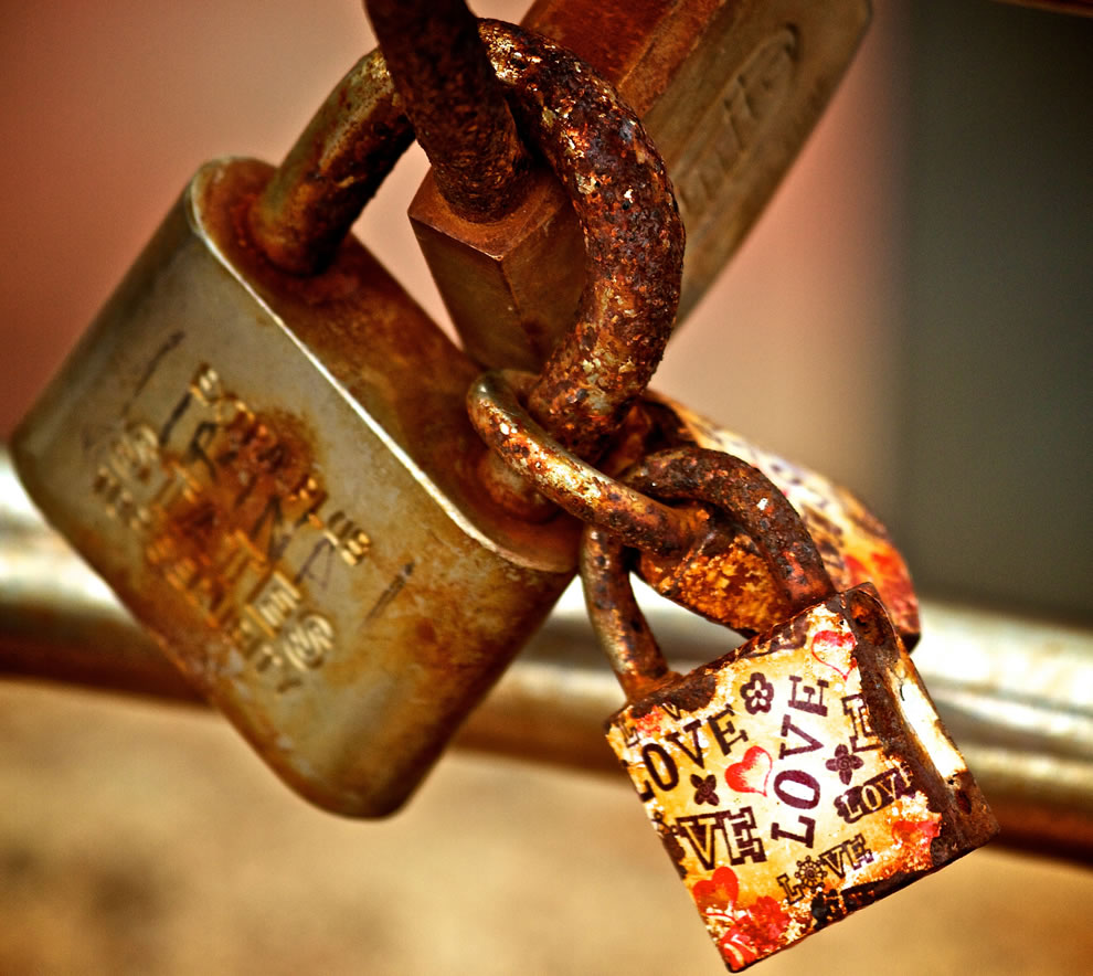 Love lock by the sea in Spain