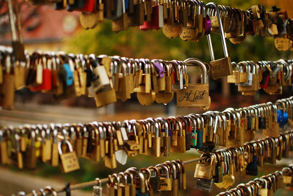 Love locks on Butchers Bridge in Ljubljana, Slovenia
