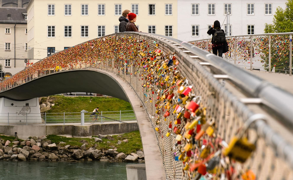 Love locks on Salzburg bridge in Austria