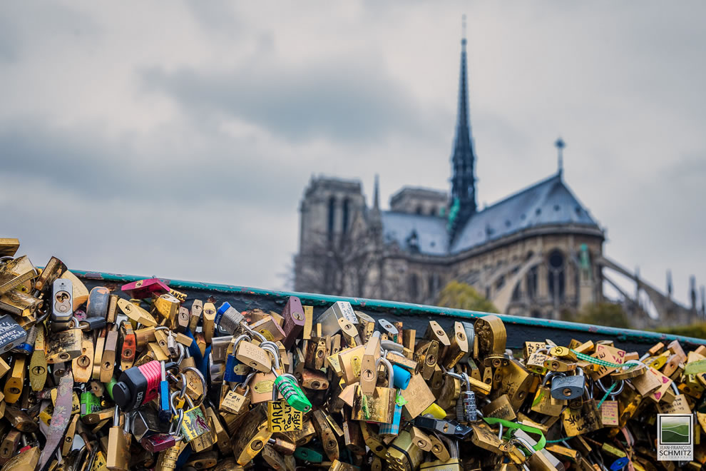 Paris love padlocks with Notre Dame