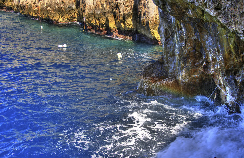 Rough surf cannot enter Blue Grotto