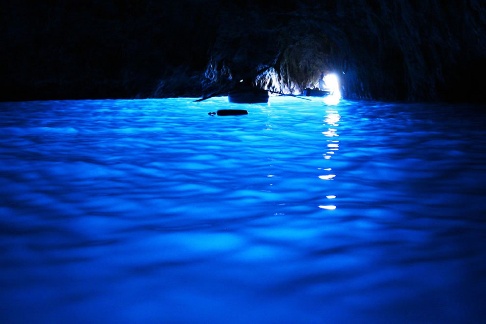 Underwater sea cave Blue Grotto in Capri