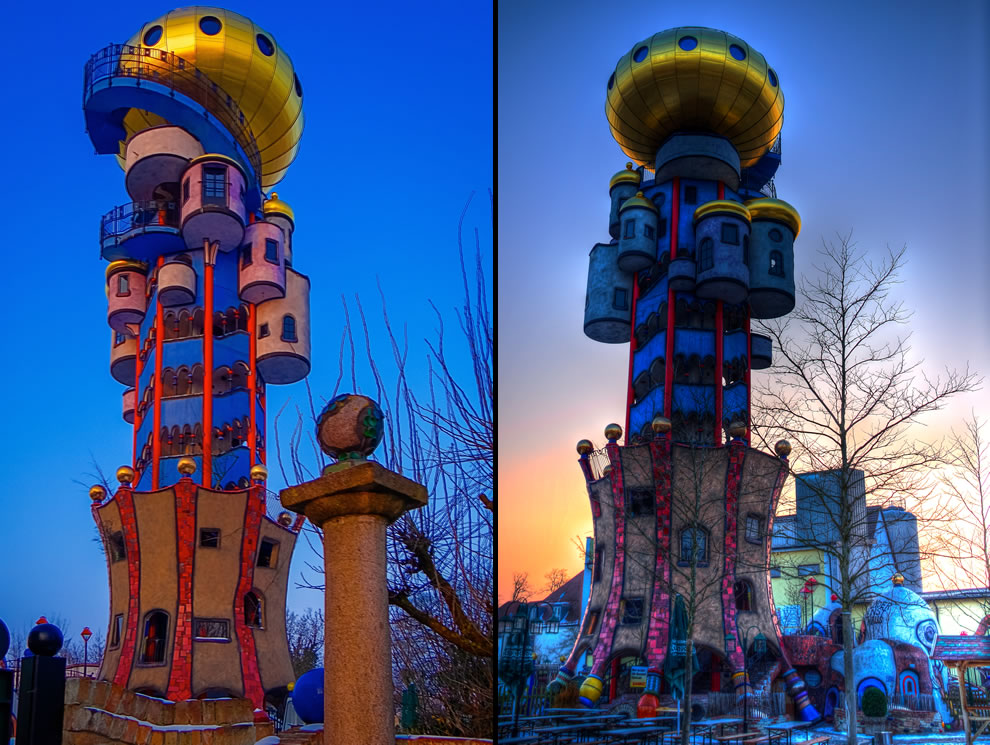 34-meter tower on the site of the brewery Kuchelbauer is a creation of Friedensreich Hundertwasser