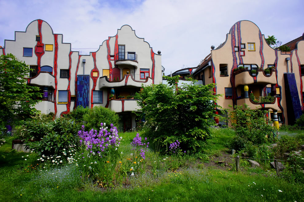 Architect Friedensreich Hundertwasser's Hundertwasserhaus Plochingen in Germany