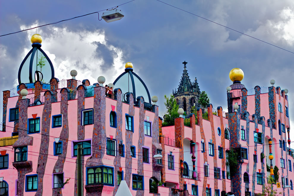 Green Citadel, a Hundertwasser house in Magdeburg, Germany