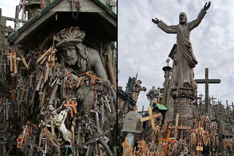 Heaping crosses at Hill of Crosses