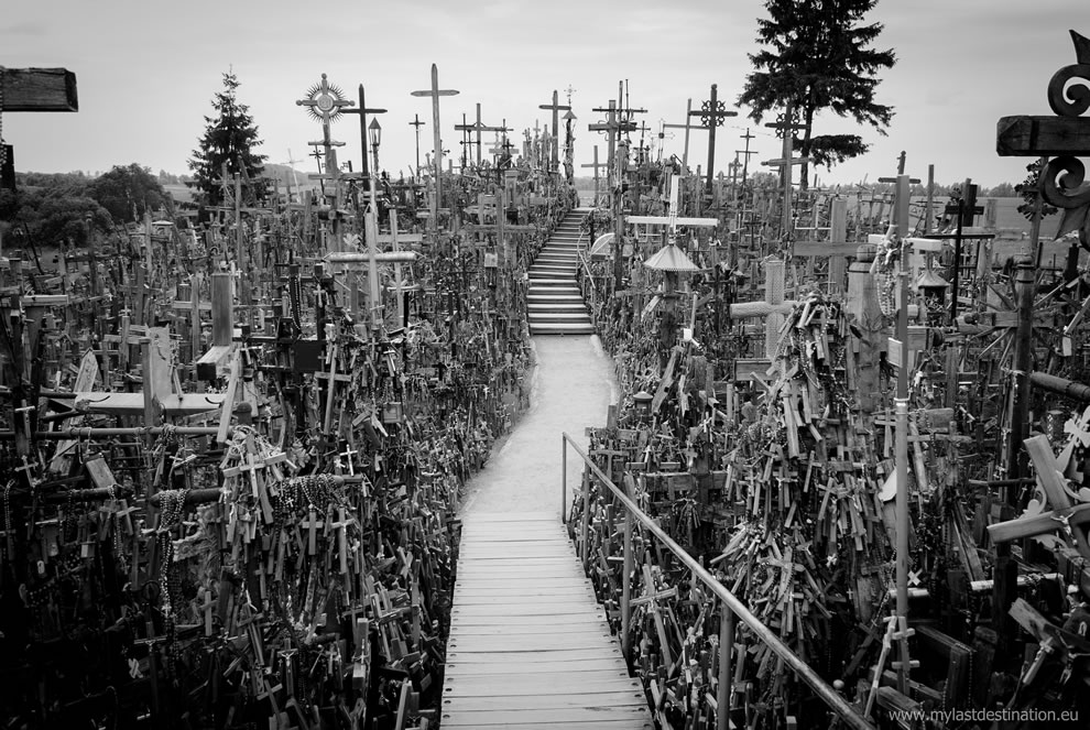 Hill of Crosses in black and white