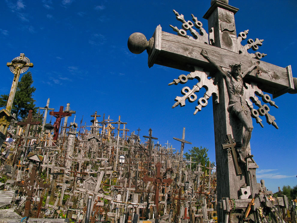 Hill of Crosses on a sunny day