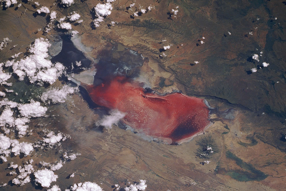 Lake Natron, Tanzania from Discovery Space Shuttle