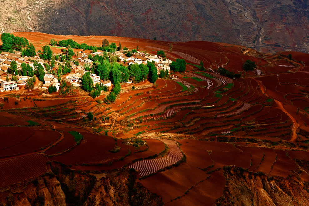 Terraced red earth