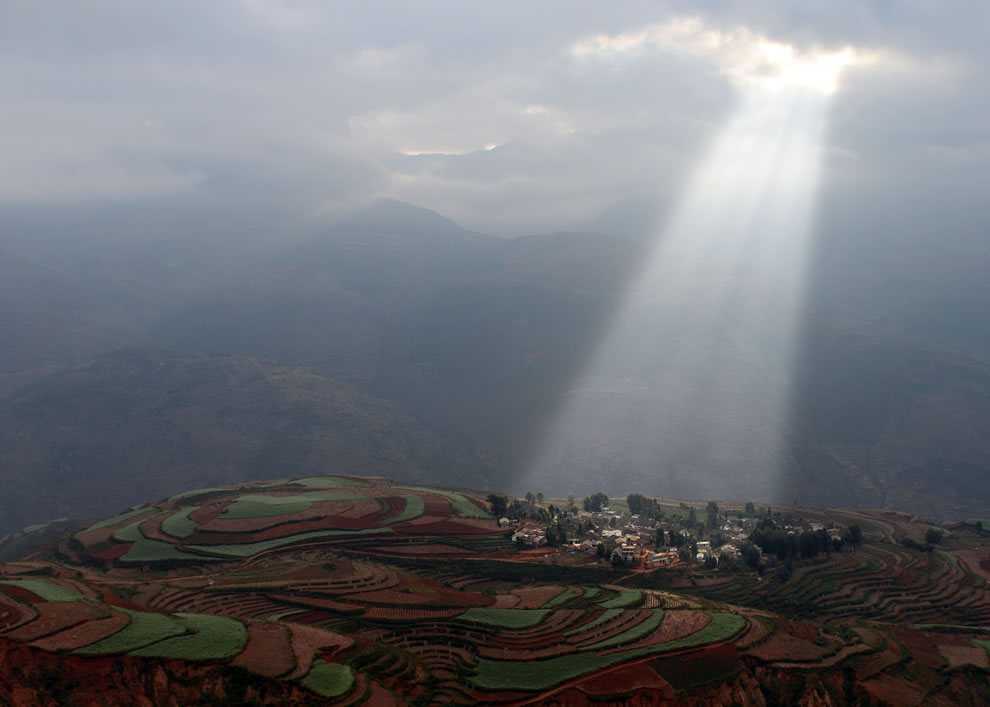 Village among Dongchuan Red Earth