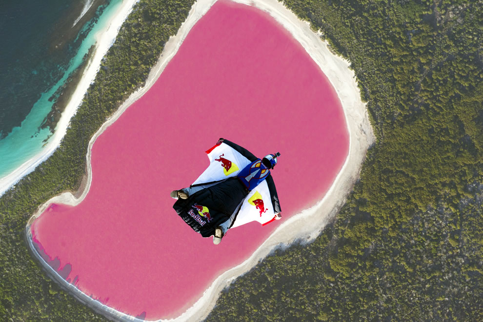 Wingsuit pilot Chuck Berry flies over Lake Hillier
