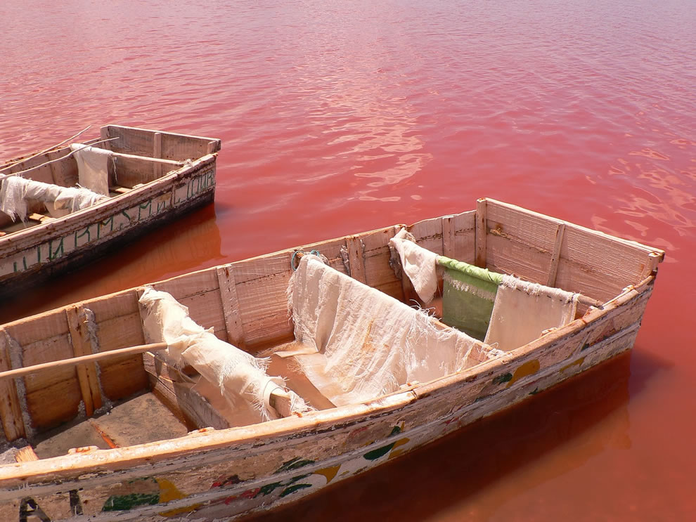 Work boats on Retba Lake