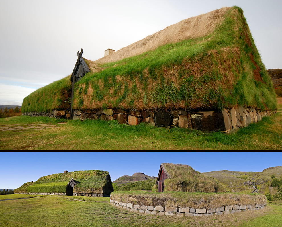 Reconstructed Viking farmhouse and Viking chapel