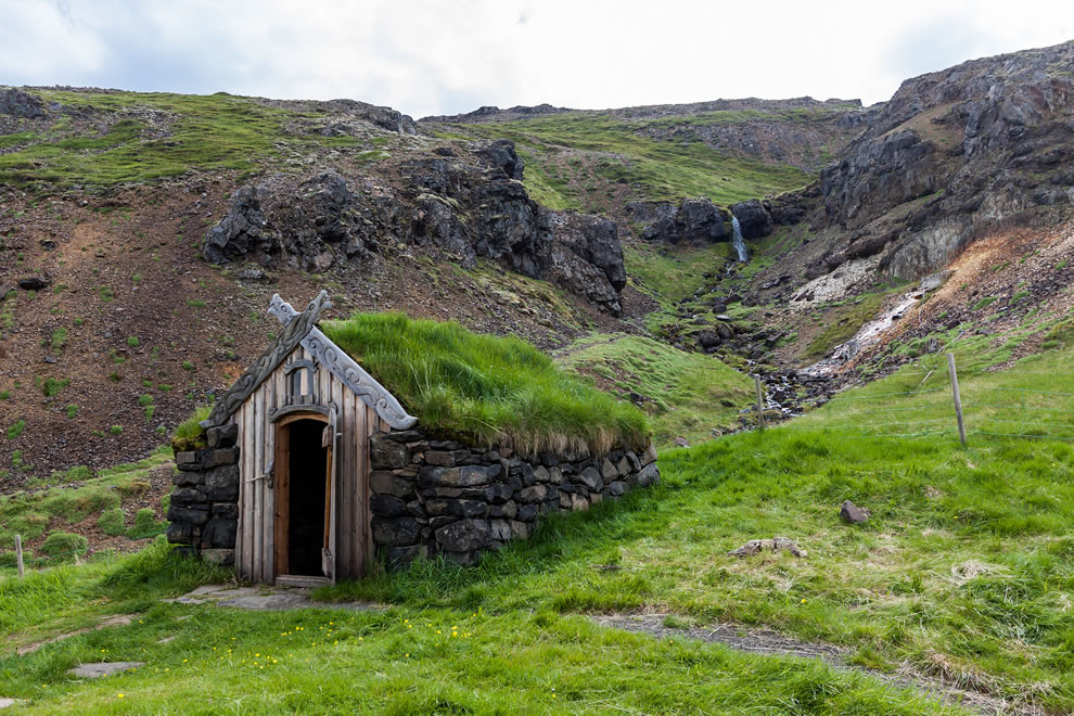 Stone house with grass roof at Icelandic Hot Springs
