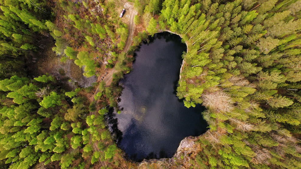 Drone photography aerial view of Old Finnish Quarry