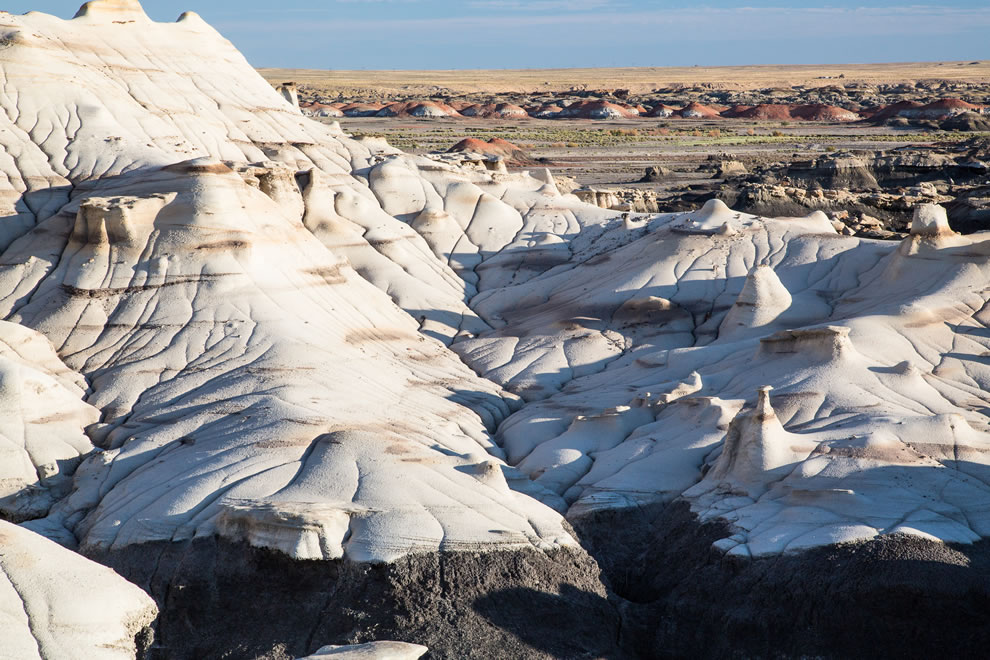 Bisti De-Na-Zin Wilderness is a remote desolate area of steeply eroded badlands