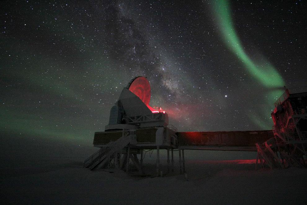 Aurora Australis Over South Pole Telescope