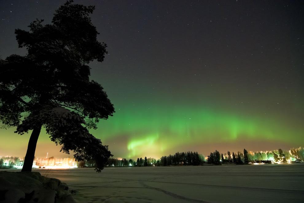 Aurorae borealis seen from Siilinjärvi, Finland