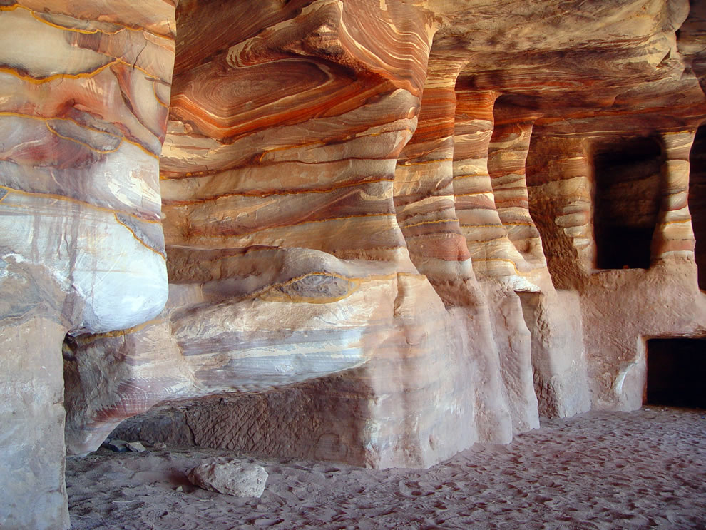 Sandstone Rock-cut tombs in Petra