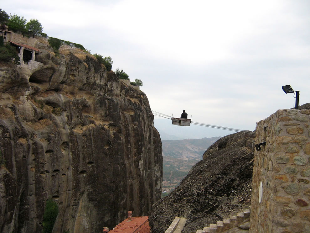 modern day monks mode of transport in Meteora