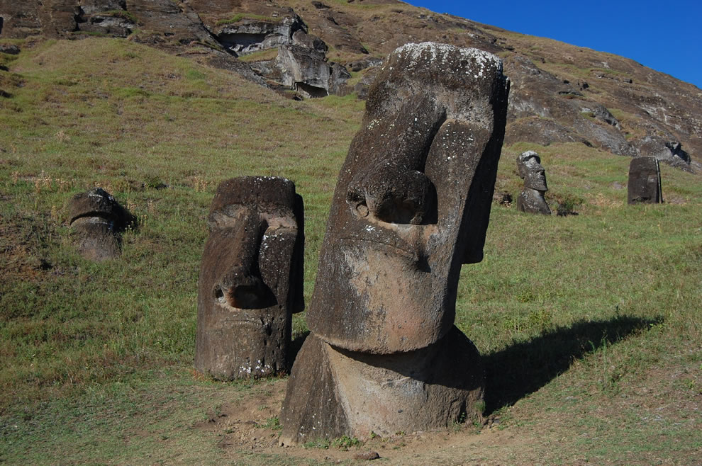 A seemingly inquisitive moai tilts his or her head while pondering an observation for centuries on Easter Island