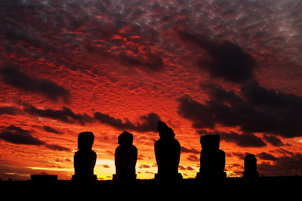Easter Island Ahu Tahai and Sunset