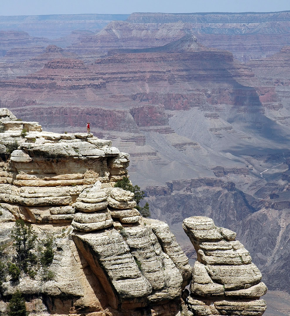Little red dot against the Grand Canyon