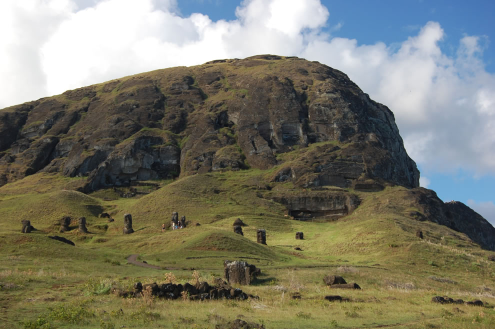 Moai at the Rano Raraku quarry, remnants of a collapsed civilization