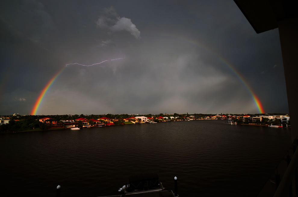 Rainbow with lightening over Kawana Island