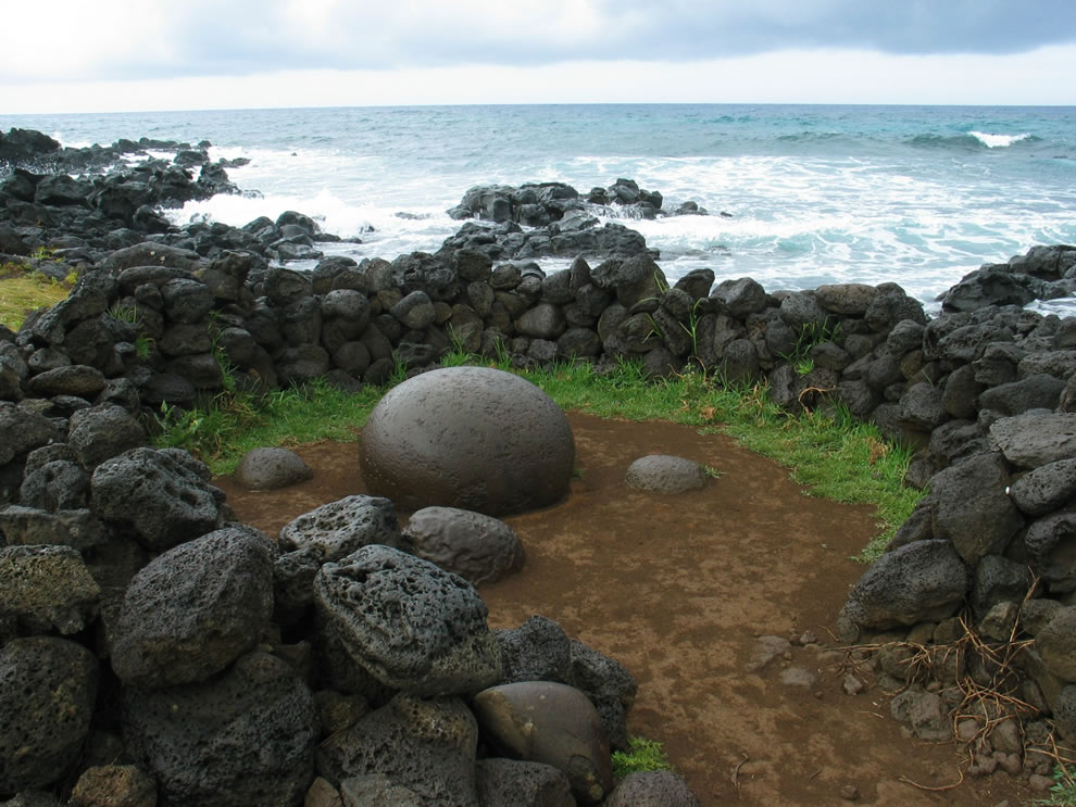 Easter Island Ahu Te Pito Kura, the world's navel, a perfectly round stone considered the world's navel by the Rapa Nuians