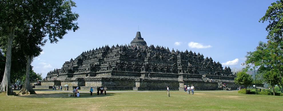 Borobudur temple view from northeast plateau, Central Java, Indonesia