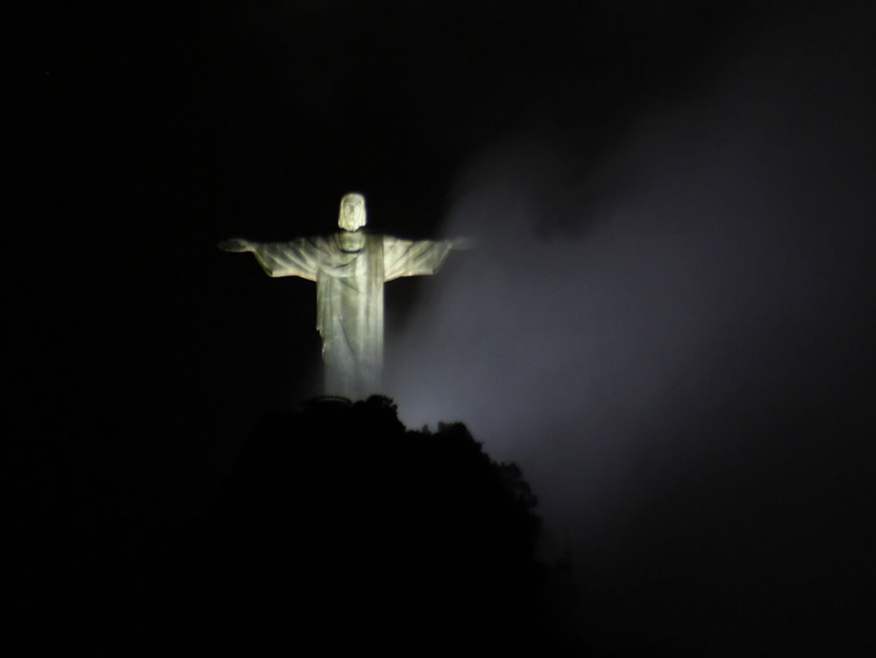 Christ the Redeemer statue at night