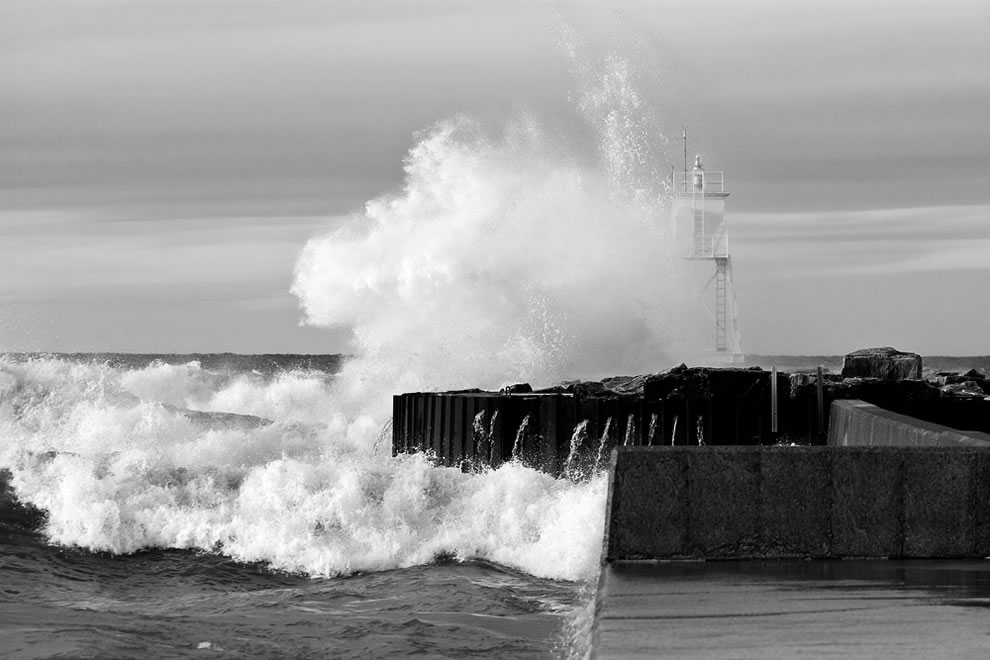 Liquid Thunder - Waves Crashing into Grand Marais Harbor Light