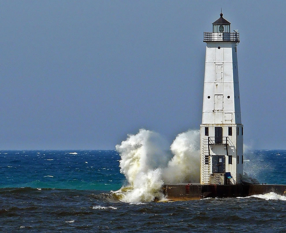 Frankfort Michigan lighthouse. When there's a strong wind out of the southwest, dramatic things happen!